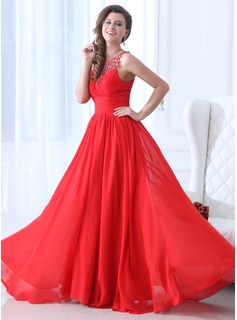 Holiday Dresses A-Line/Princess Scoop Neck Floor-Length Chiffon Holiday Dress With Ruffle Beading (020017361)