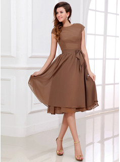 Bridesmaid Dresses A-Line/Princess Scoop Neck Tea-Length Chiffon Bridesmaid Dress (007017303)