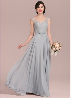 A-Linie/Princess-Linie V-Ausschnitt Bodenlang Chiffon Lace Brautjungfernkleid mit Schleife(n) (007126432)