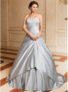 Ball-Gown Sweetheart Watteau Train Satin Wedding Dress With Ruffle Appliques Lace (002004531)