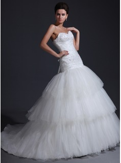 Trumpet/Mermaid Sweetheart Cathedral Train Satin Tulle Wedding Dress With Ruffle Lace Beading (002017356)