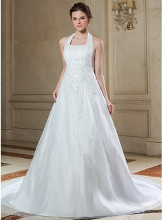 A-Line/Princess Halter Chapel Train Organza Satin Wedding Dress With Beading Appliques Lace Sequins (002000392)