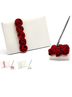 Luxe Red Rose Gras doublé Rose Livres d'or & Ensemble de crayon (101018143)