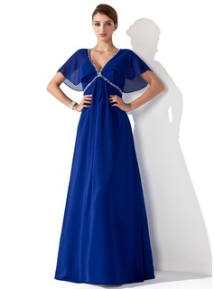 Empire V-neck Floor-Length Chiffon Mother of the Bride Dress With Ruffle Beading (008013102)