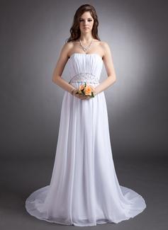 A-Line/Princess Strapless Court Train Chiffon Wedding Dress With Ruffle Beading (002016314)