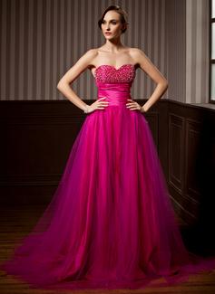 A-Linie/Princess-Linie Herzausschnitt Hof-schleppe Tüll Quinceañera Kleid (Kleid für die Geburtstagsfeier) mit Rüschen Perlen verziert (021020620)