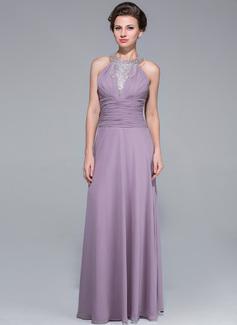 A-Linie/Princess-Linie U-Ausschnitt Bodenlang Chiffon Kleid für die Brautmutter mit Rüschen Perlen verziert Gestufte Rüschen (008025697)