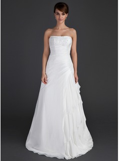 Cheap Wedding Dresses A-Line/Princess Strapless Floor-Length Chiffon Taffeta Wedding Dress With Ruffle Beadwork (002012595)