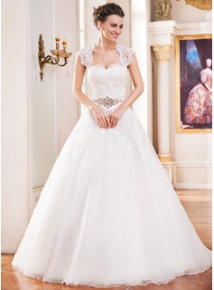 Ball-Gown Sweetheart Cathedral Train Organza Wedding Dress With Lace Beading (002055082)