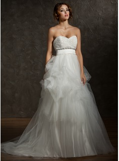 A-Line/Princess Sweetheart Court Train Satin Tulle Wedding Dress With Ruffle Flower(s) (002011516)
