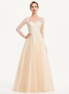 A-Linje Rund-urringning Golvlång Tyll Bröllopsklänning (002207445)
