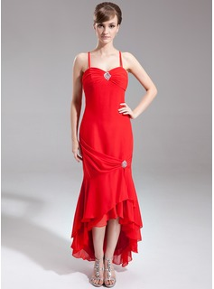 Trumpet/Mermaid Sweetheart Asymmetrical Chiffon Mother of the Bride Dress With Beading Cascading Ruffles (008016285)