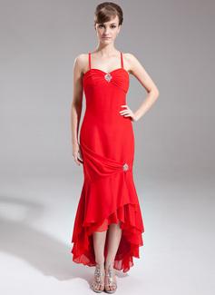 Trompete/Meerjungfrau-Linie Herzausschnitt Asymmetrisch Chiffon Kleid für die Brautmutter mit Perlen verziert Gestufte Rüschen (008016285)
