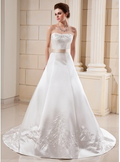 A-Line/Princess Sweetheart Cathedral Train Satin Wedding Dress With Embroidery Sash Beading Bow(s) (002000099)