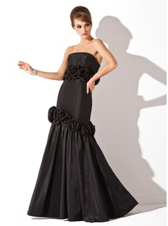 Mermaid Strapless Floor-Length Taffeta Evening Dress With Flower(s) (017002572)