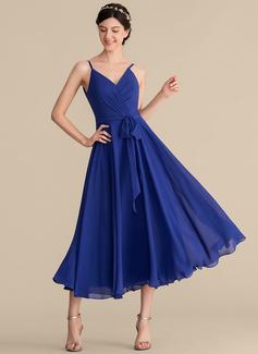 A-Line/Princess V-neck Tea-Length Chiffon Bridesmaid Dress With Ruffle Bow(s) (007165845)