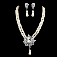 Snowflakes Shaped Alloy/Pearl With Rhinestone Ladies' Jewelry Sets (011005582)