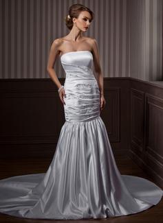 Trumpet/Mermaid Strapless Chapel Train Satin Wedding Dress With Ruffle Beading (002000608)
