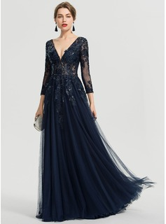 A-Line V-neck Floor-Length Tulle Prom Dresses With Sequins (018192336)