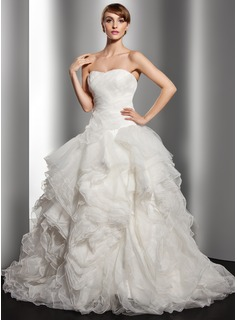 Ball-Gown Sweetheart Court Train Organza Wedding Dress With Cascading Ruffles (002014515)