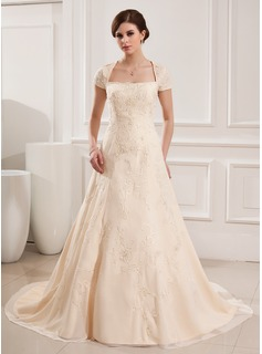 A-Line/Princess Square Neckline Court Train Chiffon Wedding Dress With Embroidered Beading (002019535)