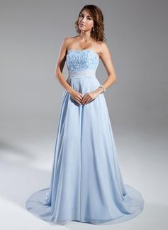 A-Linie/Princess-Linie Trägerlos Kapelle-schleppe Chiffon Abendkleid mit Rüschen Perlen verziert (017015326)