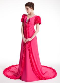 Forme Princesse Col V Traîne chappelle Mousseline Robe bal d'étudiant avec Plissé Emperler À ruban(s) (018018953)