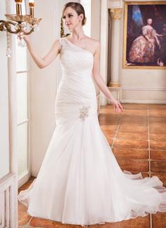 Trompete/Meerjungfrau-Linie One-Shoulder-Träger Kapelle-schleppe Organza Brautkleid mit Rüschen Perlen verziert Applikationen Spitze (002031875)