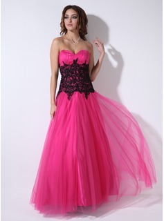 Robe de Bal de Promo Ligne-A/Princesse Cur Longeur au sol Tulle Robe de Bal de Promo avec Ondul Dentelle (018004822)