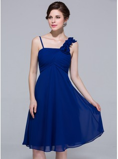 Empire Knee-Length Chiffon Bridesmaid Dress With Ruffle Flower(s) (007037246)