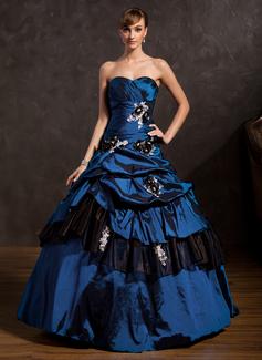 Corte de baile Novio Hasta el suelo Tafetán Vestido de quinceañera con Volantes Cuentas Los appliques Encaje Flores Lentejuelas (021015144)