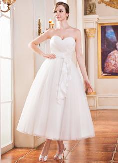 Forme Princesse Bustier en coeur Longueur mollet Taffeta Tulle Robe de mariée avec Plissé Fleur(s) (002052651)