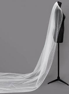 One-tier Beaded Edge Chapel Bridal Veils With Beading (006203741)