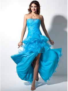 Ball-Gown Sweetheart Floor-Length Organza Prom Dress With Ruffle Beading Split Front Cascading Ruffles (018002474)