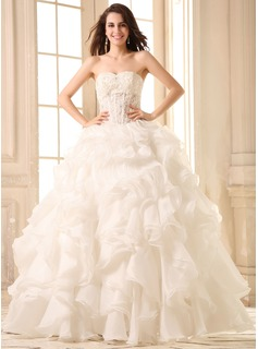 Ball-Gown Sweetheart Floor-Length Organza Wedding Dress With Lace Beading Cascading Ruffles (002030754)