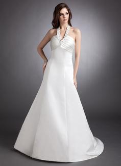 A-Line/Princess Halter Court Train Satin Wedding Dress With Ruffle Beading (002011574)