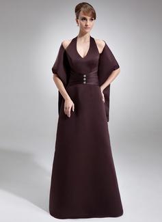 Vestido tubo Cabestro Hasta el suelo Satén Dama de honor con Volantes Bordado (007001022)