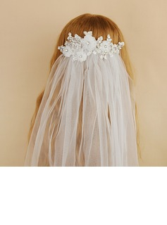 One-tier Cut Edge Elbow Bridal Veils With Rhinestones (006190612)