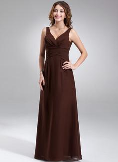 A-Line/Princess V-neck Floor-Length Chiffon Bridesmaid Dress With Ruffle (007001889)