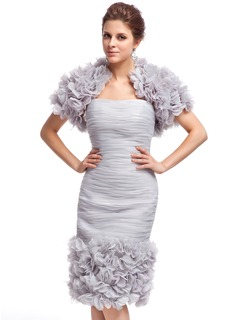 Sheath/Column Sweetheart Knee-Length Organza Cocktail Dress With Ruffle Flower(s) (016025377)