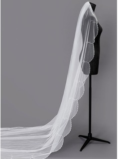 One-tier Beaded Edge Chapel Bridal Veils With Faux Pearl (006203743)