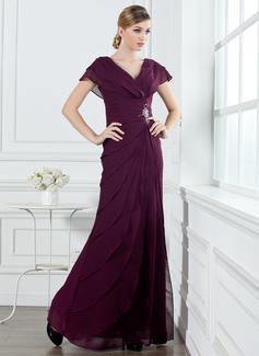 A-Linie/Princess-Linie V-Ausschnitt Bodenlang Chiffon Festliche Kleid mit Rüschen Perlen verziert (020032263)