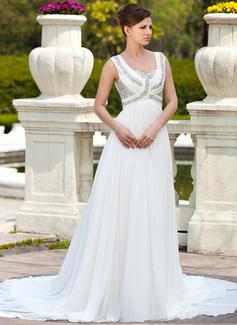 A-linjeformat Hjärtformad Chapel släp Chiffong Bröllopsklänning med Rufsar Pärlbrodering (002011673)
