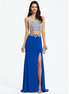Trumpet/Mermaid Scoop Neck Sweep Train Jersey Prom Dresses With Beading Sequins Split Front (018195425)