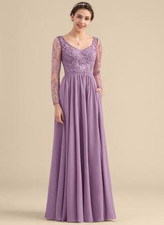A-Linie/Princess-Linie V-Ausschnitt Bodenlang Chiffon Spitze Brautjungfernkleid mit Perlstickerei Taschen (007153310)