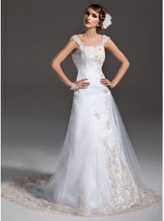 A-Line/Princess Off-the-Shoulder Court Train Satin Tulle Wedding Dress With Ruffle Lace Beadwork (002000091)