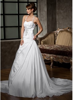 Forme Princesse Dos nu Traîne moyenne Taffeta Robe de mariée avec Plissé Emperler Sequins (002011410)