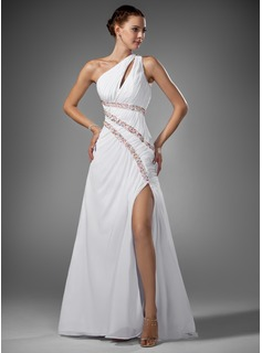 Robe de Bal de Promo Gaine Une epaule Traine longue Mousseline Robe de Bal de Promo avec Ondul Brod (018005081)