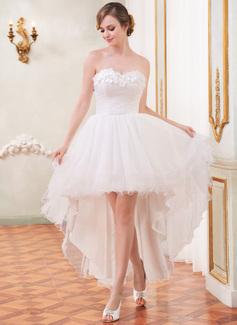 A-Linie/Princess-Linie Herzausschnitt Asymmetrisch Tüll Brautkleid mit Rüschen Perlen verziert Blumen (002055208)