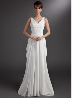 A-Line/Princess V-neck Court Train Chiffon Wedding Dress With Ruffle (002012127)